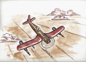 Laurent-Bessot-avion-corsair-peinture-biere-et-au-vin-rouge
